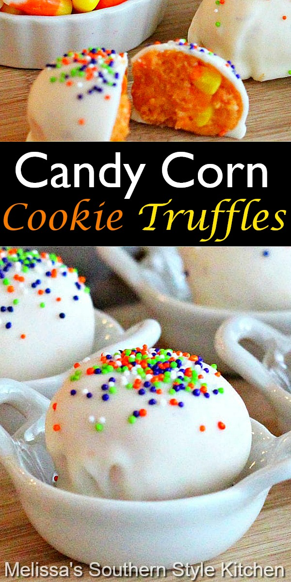 These two-bite Candy Corn Cookie Truffles require no baking at all #candycorn #candycorncookies #cookies #truffles #candycorntruffles #desserts #falldesserts #dessertfoodrecipes #trufflerecipes #fall #southernfood #southernrecipes
