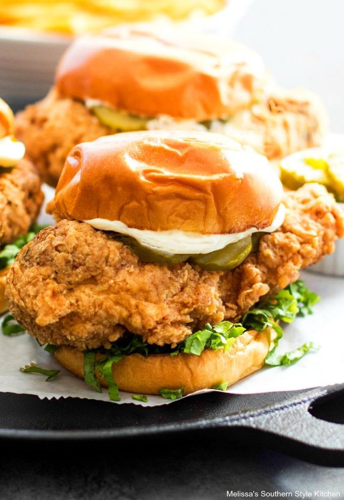 fried chicken on a bun
