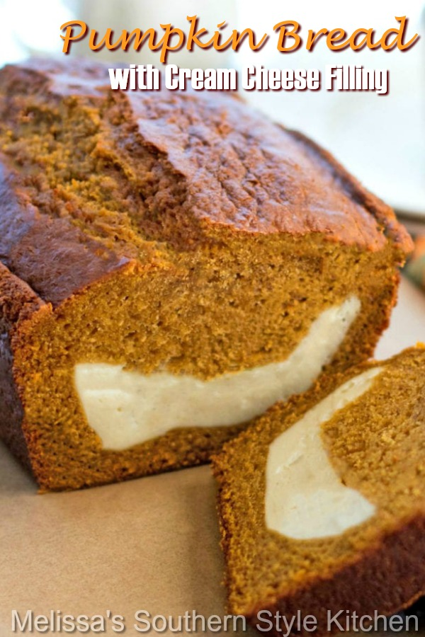 Savor fall flavors in this made-from-scratch Pumpkin Bread with Cream Cheese Filing #pumpkinbread #pumpkinrecipes #creamcheese #sweetbreadrecipes #cakes #fallbaking #thanksgiving #pumpkin #thanksgivingrecipes #holidaybaking #desserts #dessertfoodrecipes #southernfood #southernrecipes