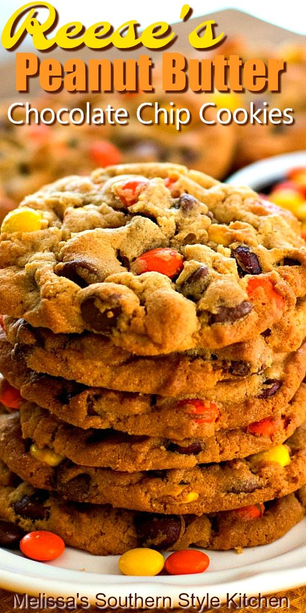 Reese's Peanut Butter Chocolate Chip Cookies #reeses #reesescookies #chocolatechipcookies #peanutbuttercookies #cookierecipes #reesespiecescookies #peanutbutter #southernfood #southernrecipes #desserts #dessertfoodrecipes