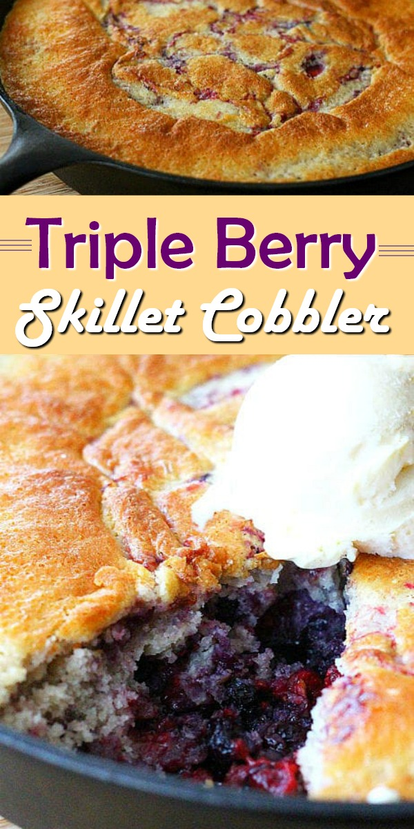 Top this Triple Berry Skillet Cobbler with a scoop of vanilla ice cream for a comfort filled dessert option #tripleberrycobbler #skilletcooking #castironrecipes #tripleberry #berries #blueberries #raspberries #blackberries #summerdesserts #falldesserts #desserts #cobbler #southernfood #dessertfoodrecipes #southernrecipes
