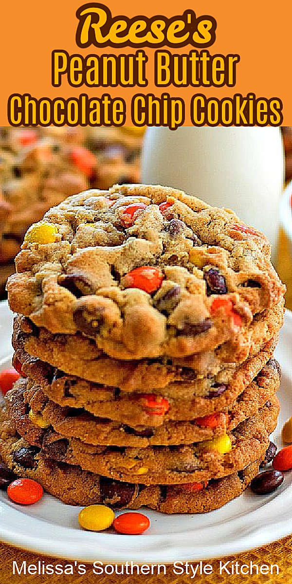 Treat your family to these irresistible Reese's Peanut Butter Chocolate Chip Cookies #reeses #reesescookies #chocolatechipcookies #peanutbuttercookies #cookierecipes #reesespiecescookies #peanutbutter #southernfood #southernrecipes #desserts #dessertfoodrecipes