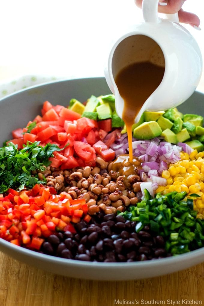 vegetables in a bowl with dressing