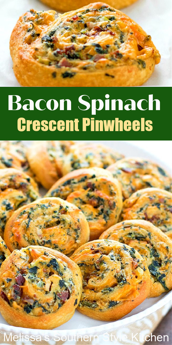 These easy Bacon Spinach Crescent Pinwheels come together in a snap #crescentrolls #easycrescentrollpinwheels #baconspinachpinwheels #crescentrollrecipes #easyappetizers #easyappetizerrecipes #holidaybrunch #southernfood #christmasrecipes #newyearseve #spinach #baconrecipes #pinwheels #southernrecipes