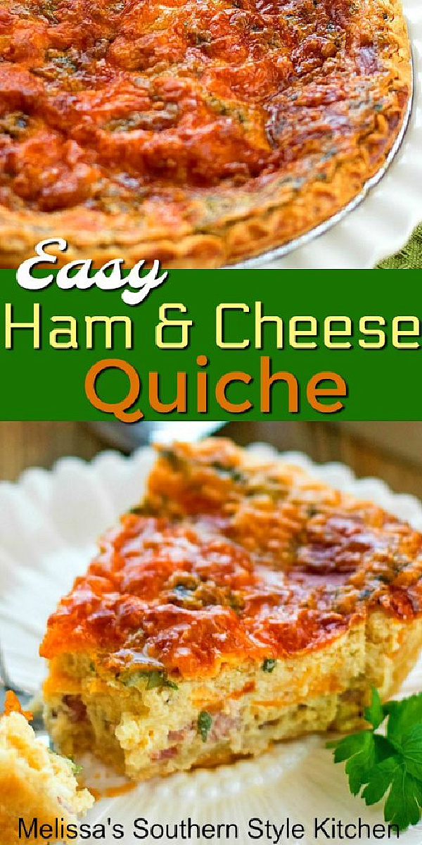 Easy Ham and Cheese Quiche single slice on a plate