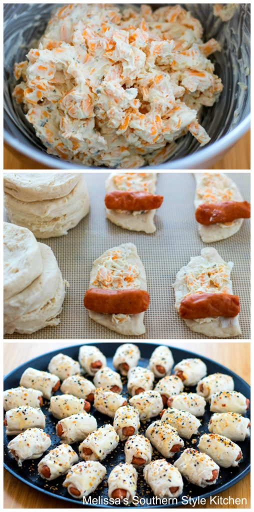 step by step images and ingredients for mini crescent dogs