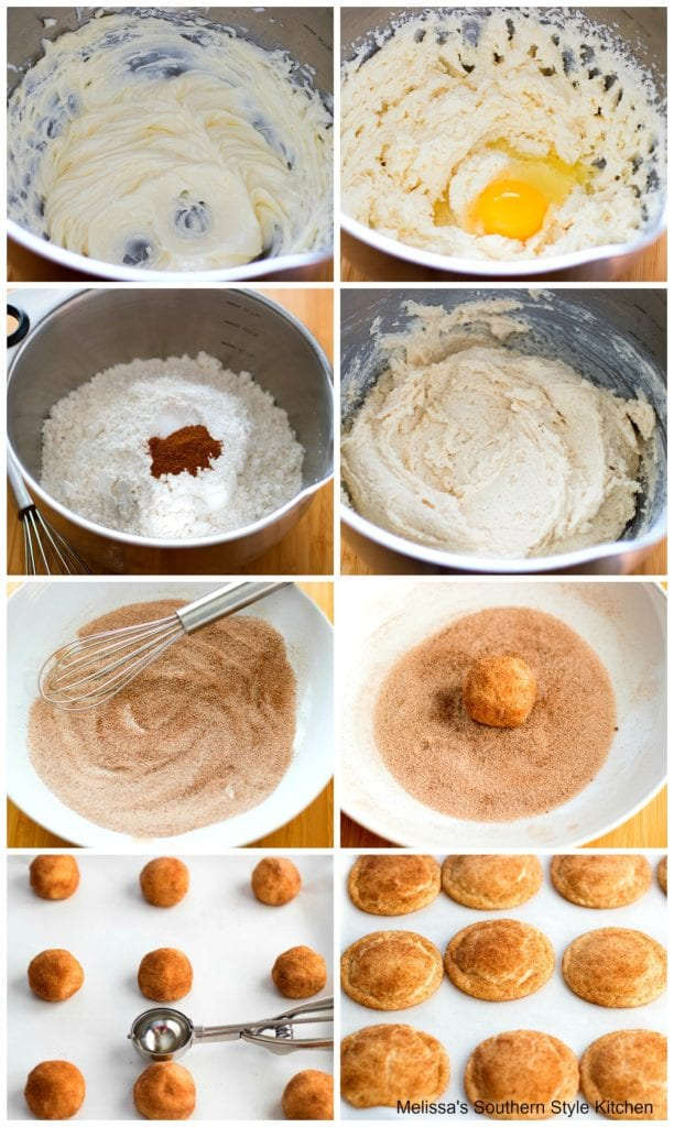 step-by-step preparation images, cookie dough in a mixing bowl and baked cookies
