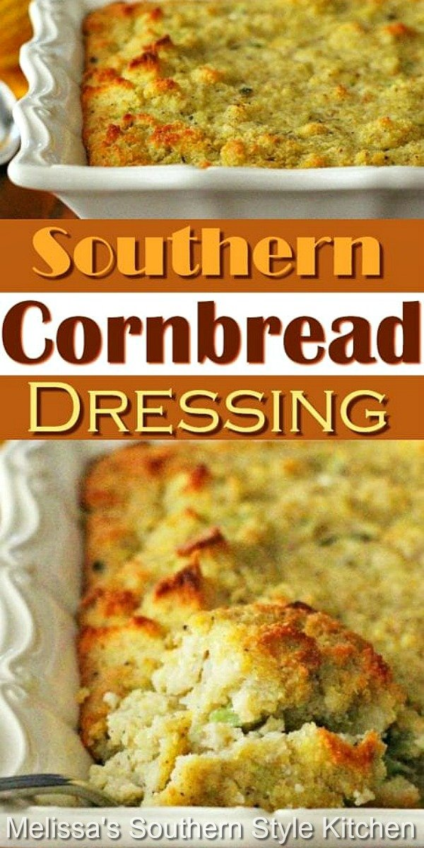 Mouthwatering Southern Cornbread Dressing topped with a drizzle of gravy is the perfect holiday side #dressing #cornbreaddressing #stuffing #southerndressing #thanksgiving #holidaysides #holidaybaking Thanksgiving #christmas #southernfood #cornbread #southernrecipes