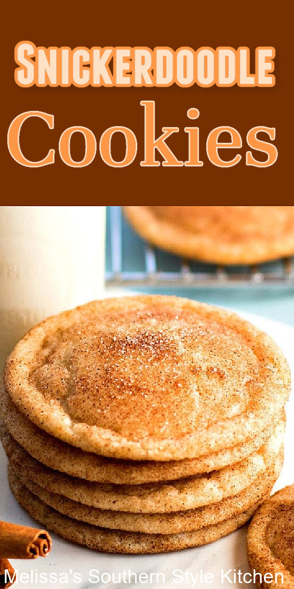 These sweet and spicy classic cookies won't last long in your cookie jar #snickerdoodles #snickerdoodlecookies #cookies #holidaybaking #christmascookies #cinnamon #spicecookies #desserts #dessertfoodrecipes #southernfood #southernrecipes