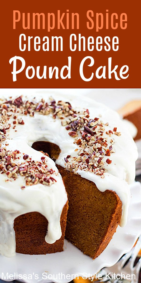 The only recipe you'll ever need for the best Pumpkin Spice Cream Cheese Pound Cake #pumpkinspice #pumpkincake #southernpoundcake #creamcheesepoundcake #thanksgiving #fallbaking #pumkinrecipes #southernfood #dessert #dessertfoodrecipes #southernrecipes #holidaybaking