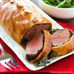 Beef Wellington wrapped in puff pastry