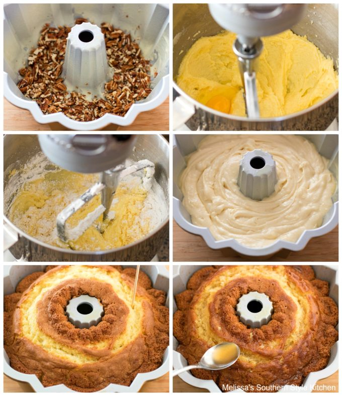 step-by-step images and ingredients for rum cake