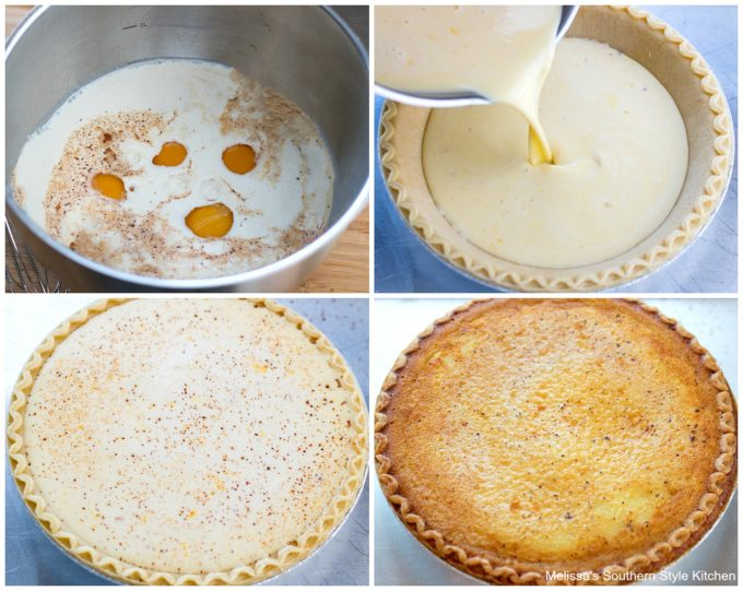 custard ingredients in a bowl and a pie shell