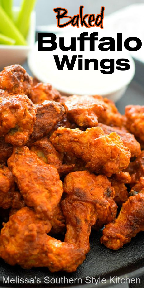 Skip the oil and make this crispy Baked Buffalo Wings Recipe in the oven in a snap #wings #buffalowings #chickenwings #bakedbuffalowings #chicken #chickenrecipes #easywings #easyrecipes #partyfood #appetizer #classicbuffalowingsrecipe #southernrecipes #bestbuffalowingsrecipe #southernfood #melissassouthernstylekitchen
