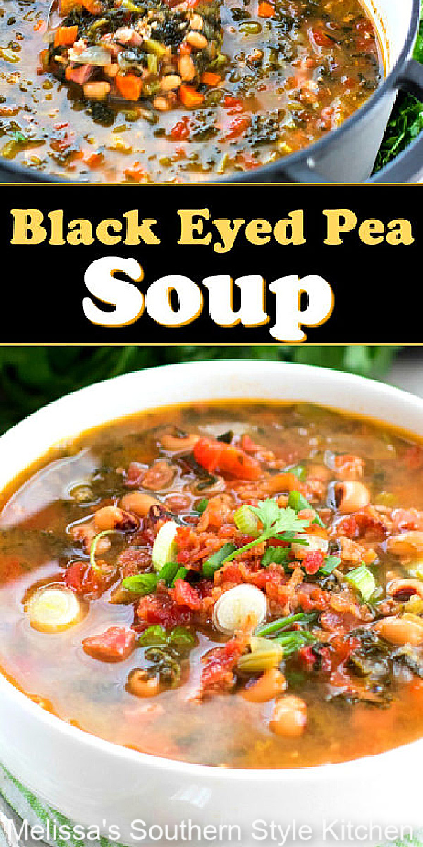 Enjoy a warm and cozy bowl of Black Eyed Pea Soup for your New Year's Day celebration #blackeyedpeas #soup #blackeyedpeasoup #souprecipes #bestsouprecipes #newyearsdayrecipes #southernfood #southernrecipes #dinner #dinnerrecipes