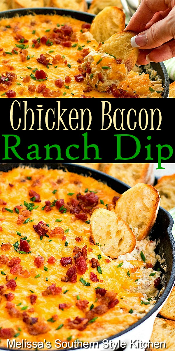 This gooey Chicken Bacon Ranch Dip is impossible to resist. It's practically a meal on it's own perfect for those days you want to dip your dinner #chickenbaconranch #chickenbacondip #bacondip #diprecipes #ranchdressing #easychickenrecipes #appetizers #bacon #southernfood #southernrecipes #tailgating #footballfood #gamedayrecipes #holidayrecipes