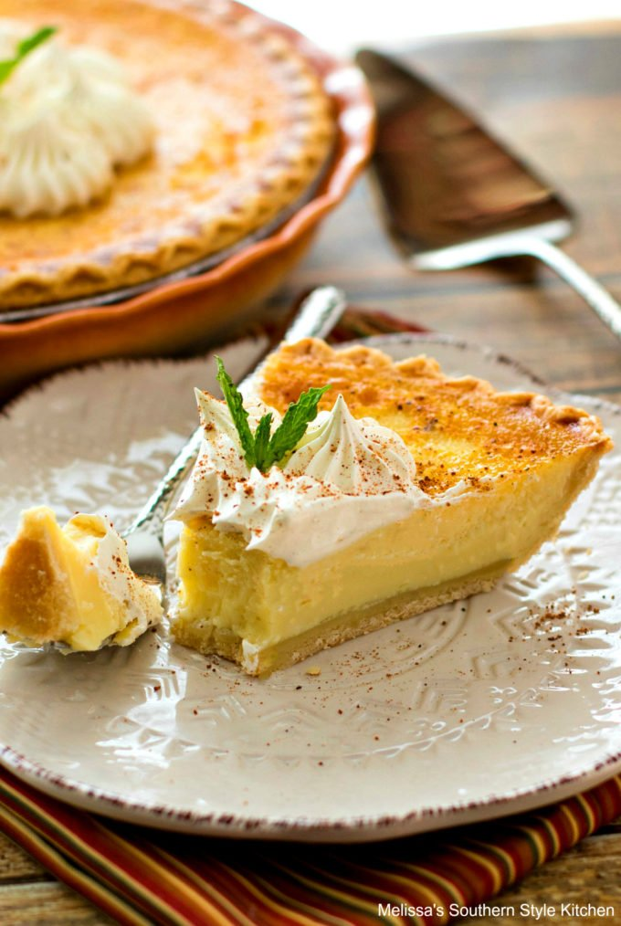 Single piece of custard pie on a plate