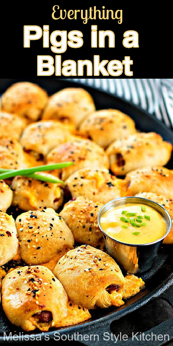 Take this classic snack to another level with Everything bagel seasoning ~ Everything Pigs in a Blanket #pigsinablanket #minicrescentdogs #hotdogs #appetizers #snacks #lilsmokies #smokedsausages #partyfood #easyrecipes #superbowlfood #appetizers #tailgating #graduationparty #food #recipes #southernrecipes #southernfood #melissassouthernstylekitchen