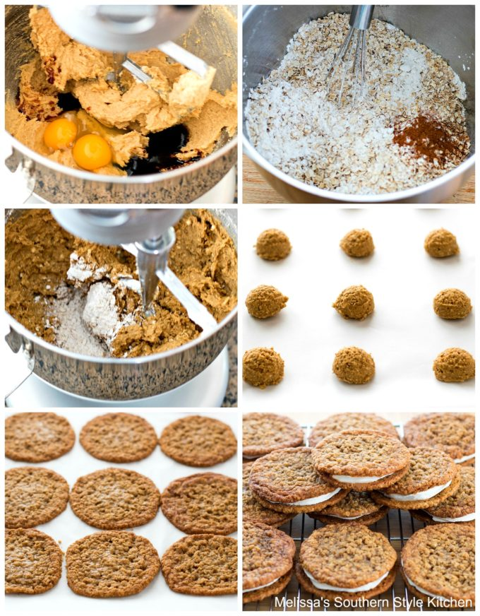 step-by-step images and ingredients needed to prepare cream pies