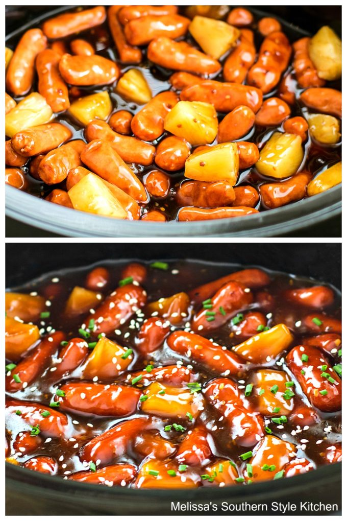 little smokies in a slow cooker with pineapple