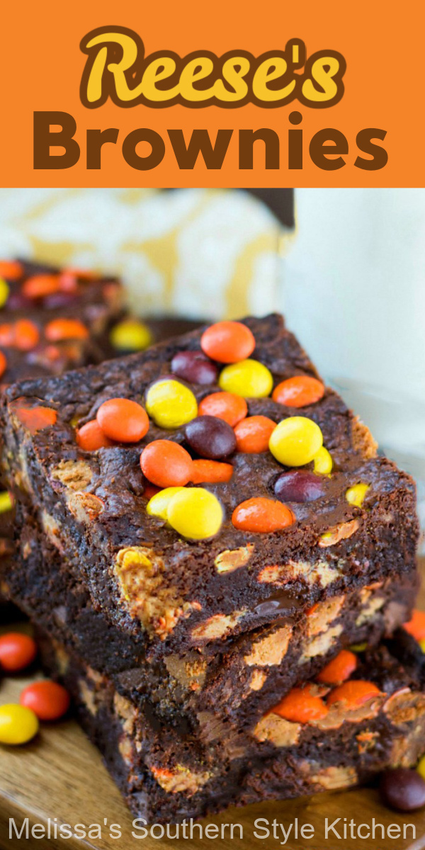 Fudgy Reese's Pieces Brownies are filled with chocolate chips, peanut butter cups and Reese's pieces, making these brownies hard to resist. #reesesbrownies #brownies #bestbrownies #peanutbutterbrownies #chocolate #chocolatebars #reesespieces #desserts #dessertfoodrecipes #holidaybaking #holidays #footballdesserts #peanutbutter #southernfood #southernrecipes #melissassoutherntylekitchen