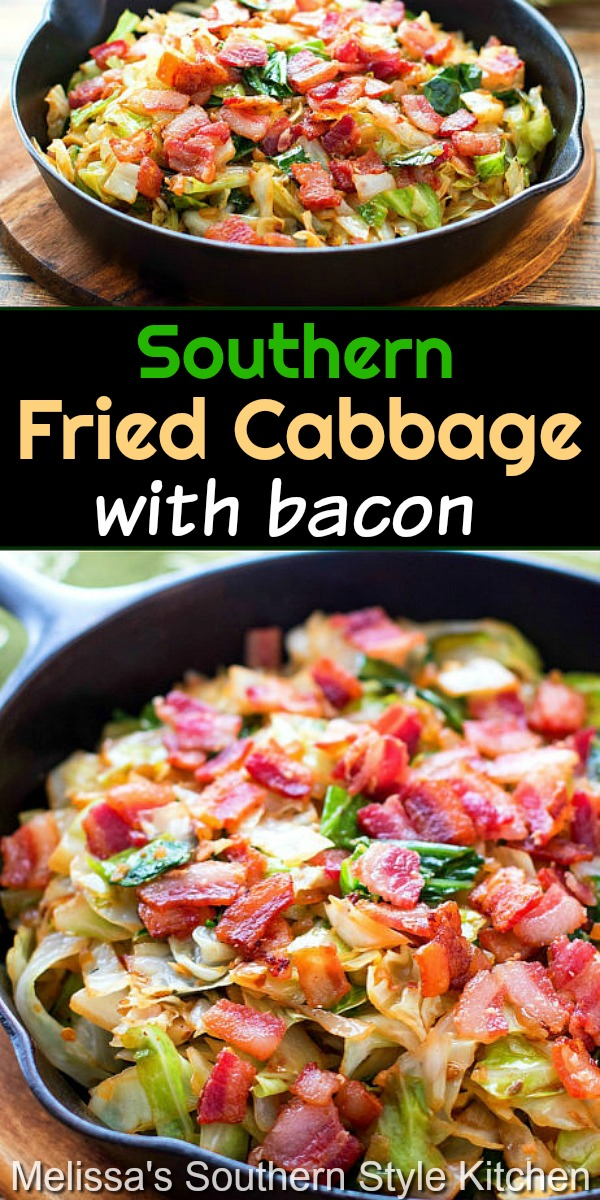Enjoy the smoky undertones of bacon in this simple yet, delicious, recipe for Southern fried cabbage #friedcabbage #bacon #cabbagerecipes #lowcarb #dinnerideas #cabbage #southernfood #southernrecipes #easyrecipes #sidedishrecipes #ketorecipes