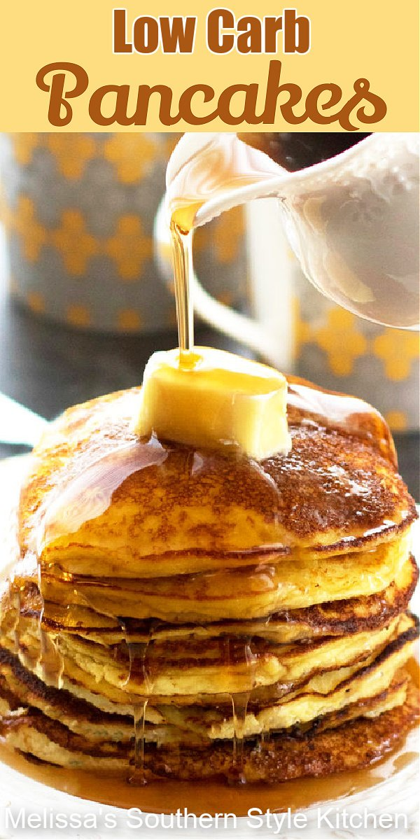 Leave the guilt behind and enjoy a big stack of these fluffy almond flour Low Carb Pancakes #lowcarb #pancakes #lowcarbpancakes #almondflourpancakes #almondflourrecipes #glutenfreerecipes #southernfood #southernrecipes