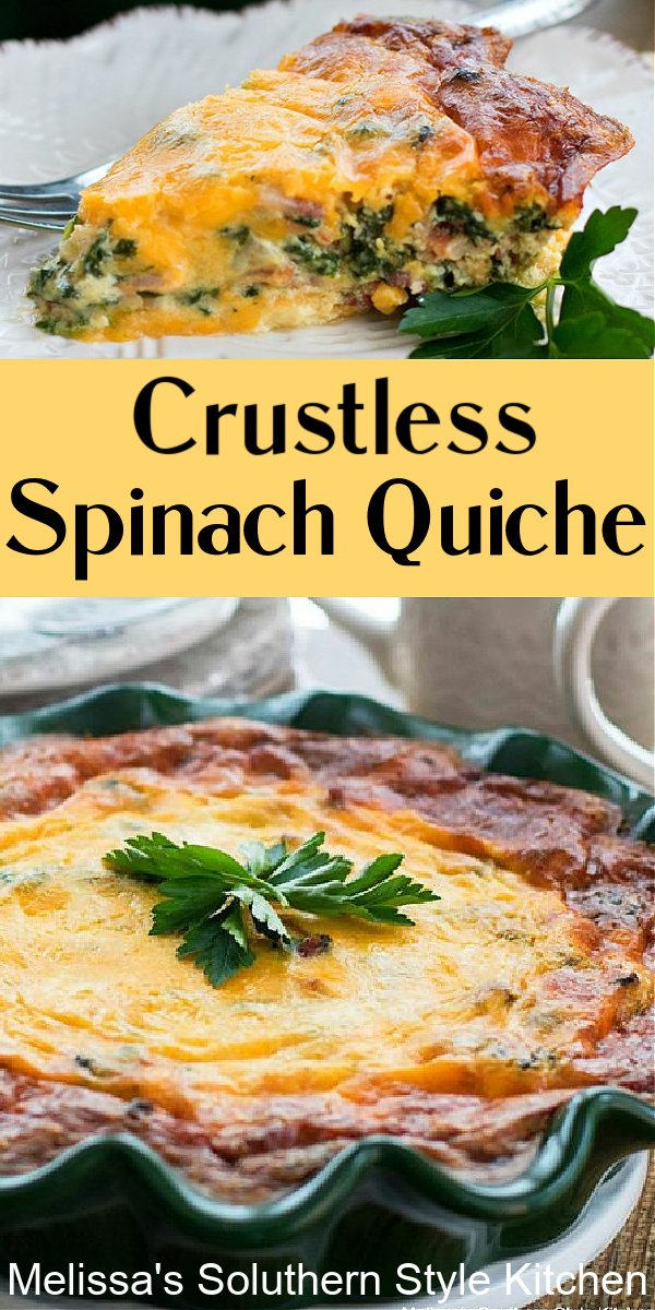 This cheesy deep dish Crustless Spinach Quiche with bacon makes a scrumptious entrée for brunch, lunch or dinner #crustlessquiche #spinachquiche #quicherecipes #bacon #spinachbaconquiche #breakfastrecipes #brunchrecipes