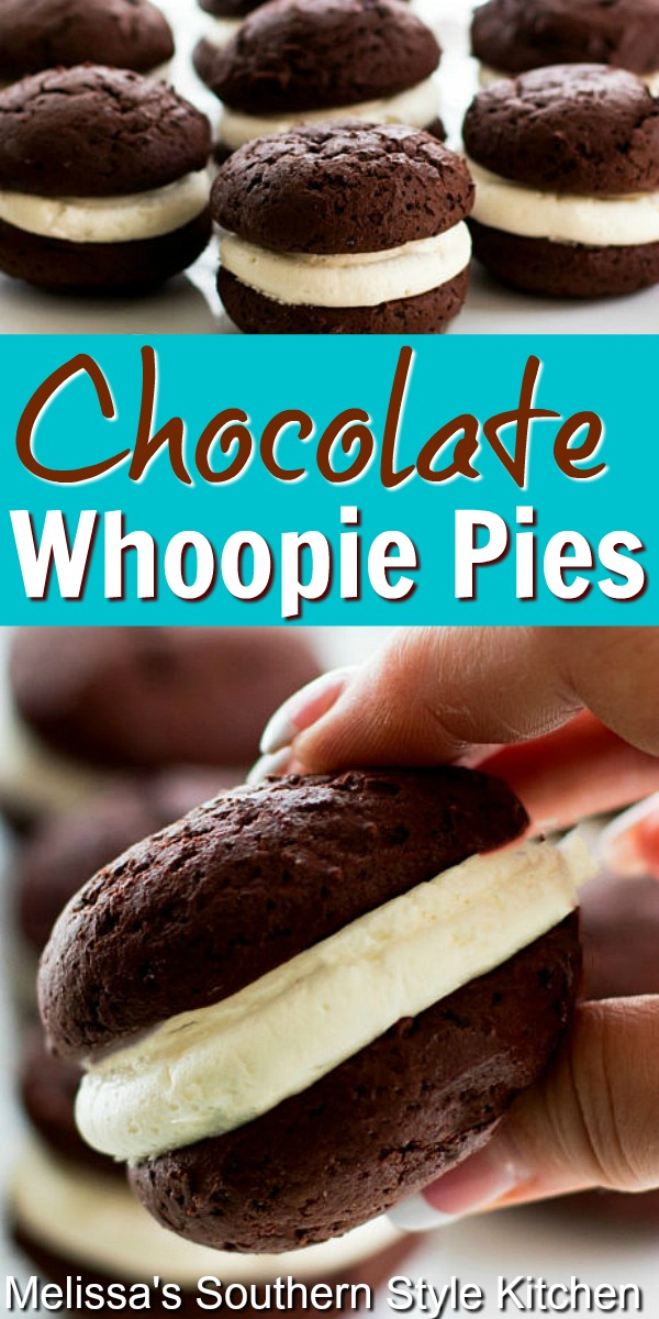 Soft pilowy chocolate cookies sandwiched with a marshmallow cream is the ultimate handheld treat #whoopiepies #chocolate #chocolatewhoopiepies #chocolatepie #holidaybaking #holidaydesserts #marshmallows #cookies #southernfood #southernrecipes #desserts #dessertfoodrecipes