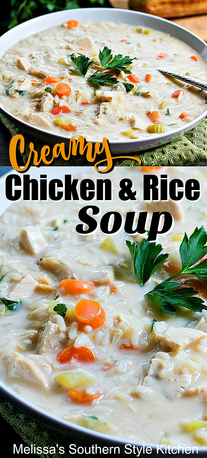 Cozy up to a bowl of Easy Creamy Chicken Rice Soup for dinner tonight #chickenricesoup #chickensoup #creamychicken #chickenrecipes #souprecipes #easyrecipes #chicken #soup #food #recipes #dinnerideas #dinner #southernrecipes #southernfood #meloissassouthernstylekitchen