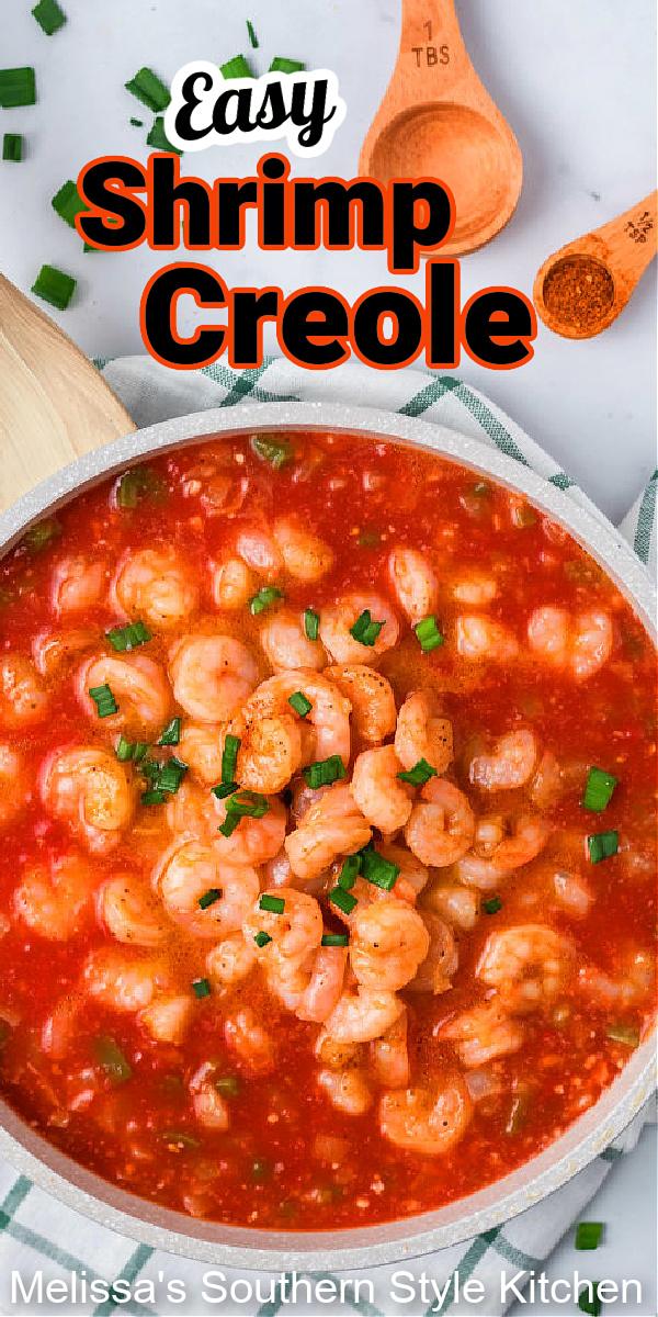 Enjoy this easy shrimp creole over rice or grits for dinner #shrimpcreole #shrimprecipes #seafood #creole #cajunfood #NOLArecipes #easyrecipes #dinner #dinnerideas #dinnerrecipes #southernfood #southernrecipes #mardisgras