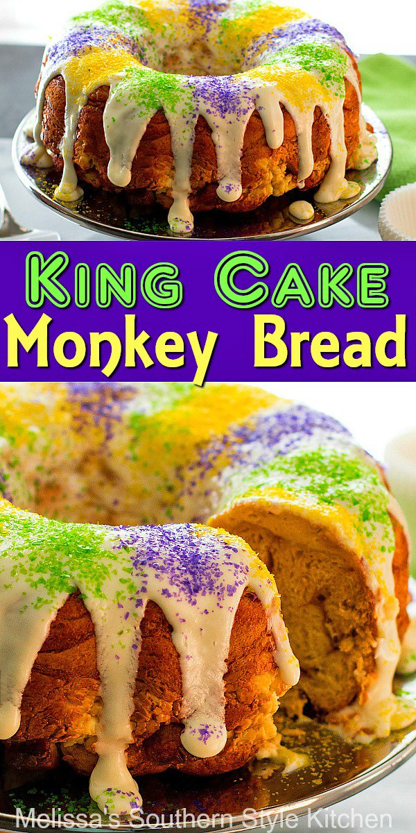 Enjoy this festive King Cake Monkey Bread for your own Mardis Gras celebration at home #kingcake #monkeybread #kingcakemonkeybread #NOLA #creolerecipes #desserts #mardisgrasrecipes #southernrecipes