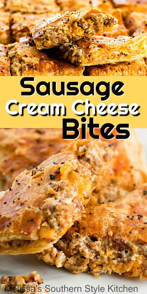 These Sausage Cream Cheese Bites are made using puff pastry stuffed with a cheesy sausage filling. Enjoy them as an appetizer, for brunch or a holiday breakfast #sausagebites #puffpastry #sausagepuffs #sausagecreamcheesebotes #puffpastryrecipes #brunch #breakfast #holidaynbrunchrecipes #pork #southernfood #southernrecipes