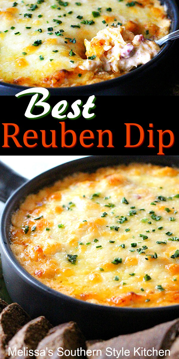 Everything you love about a reuben sandwich is in this cheesy Best Reuben Dip #reubens #reubendip #classicreubendip #diprecipes #cornedbeef #stpatricksday #partyfood #snacks #southernrecipes #southernfood