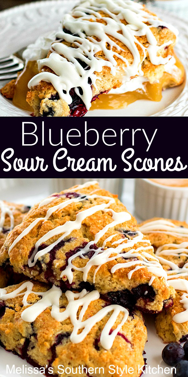 Make breakfast, brunch or tea time complete with these Blueberry Sour Cream Scones #blueberryscones #scones #brunch #breakfast #blueberryrecipes #desserts #teatime #glazedscones #southernrecipes #southernfood #dessertfoodrecipes