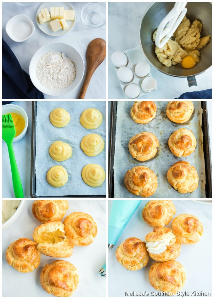 Step-by-step preparation images and ingredients to make Cream Puffs