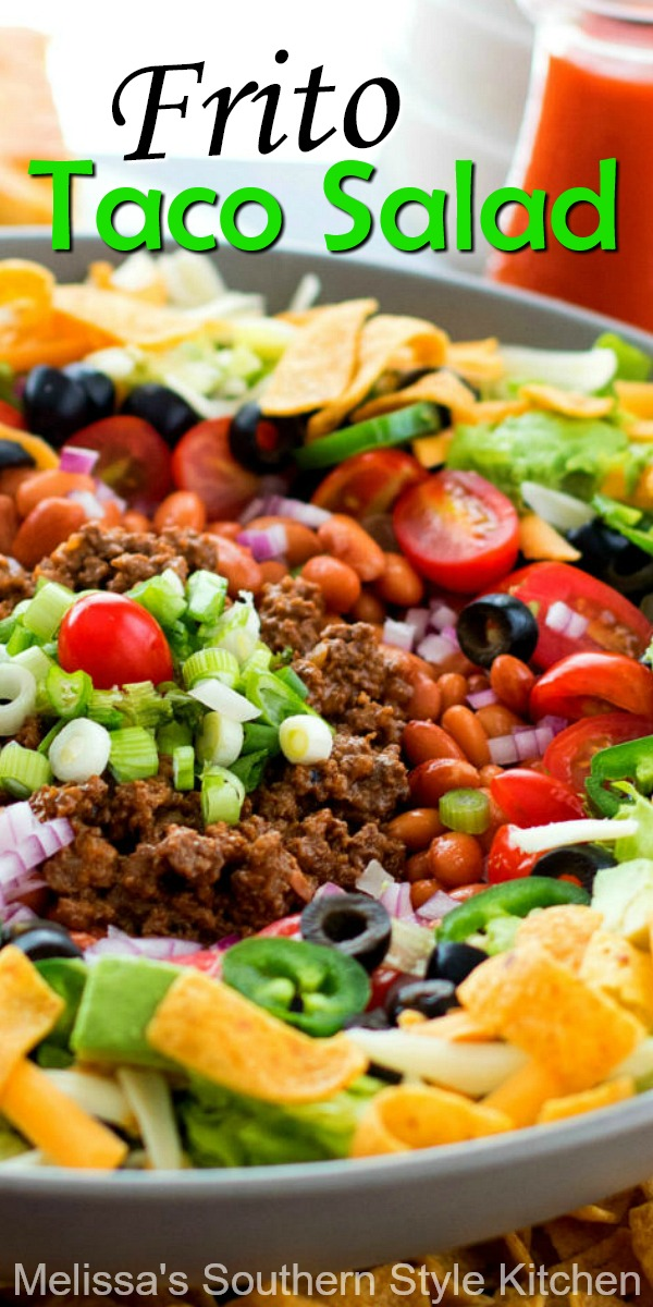 Whip-up this Frito Taco Salad for dinner and game day snacking #fritosalad #tacosalad #saladrecipes #dinnerideas #groundbeefrecipes #tacos #fritosalad #easyrecipes #southernrecipes #southernfood #melissassouthernstylekitchen