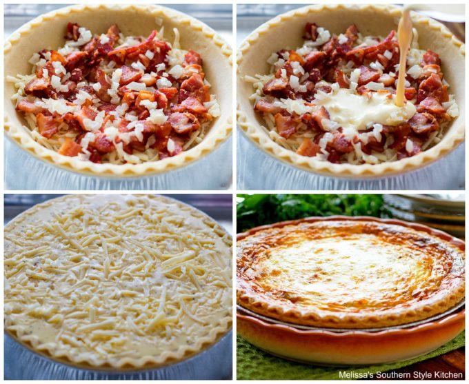 step-by-step images demonstrating quiche preparation
