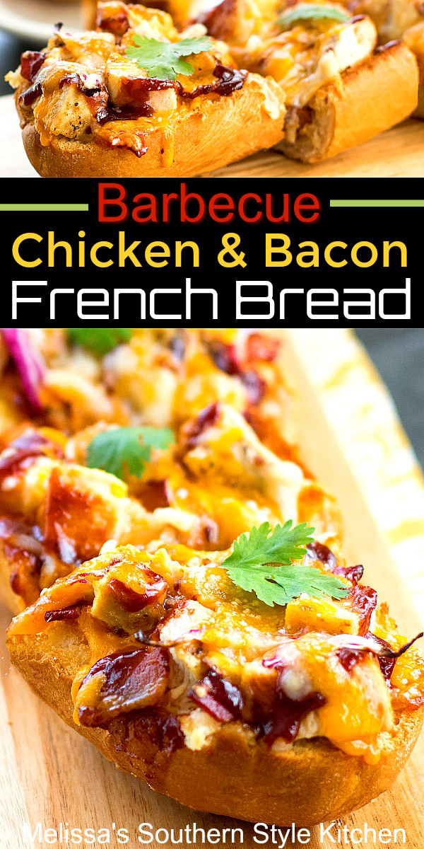 Barbecue Chicken and Bacon French Bread is a 20 minute meal that won't break the bank #barbecuechicken #frenchbreadpizza #frenhcbread #bbq #bbqchicken #bacon #easyrecipes #dinner #dinnerideas #easychickenrecipes #southernfood #southernrecipes
