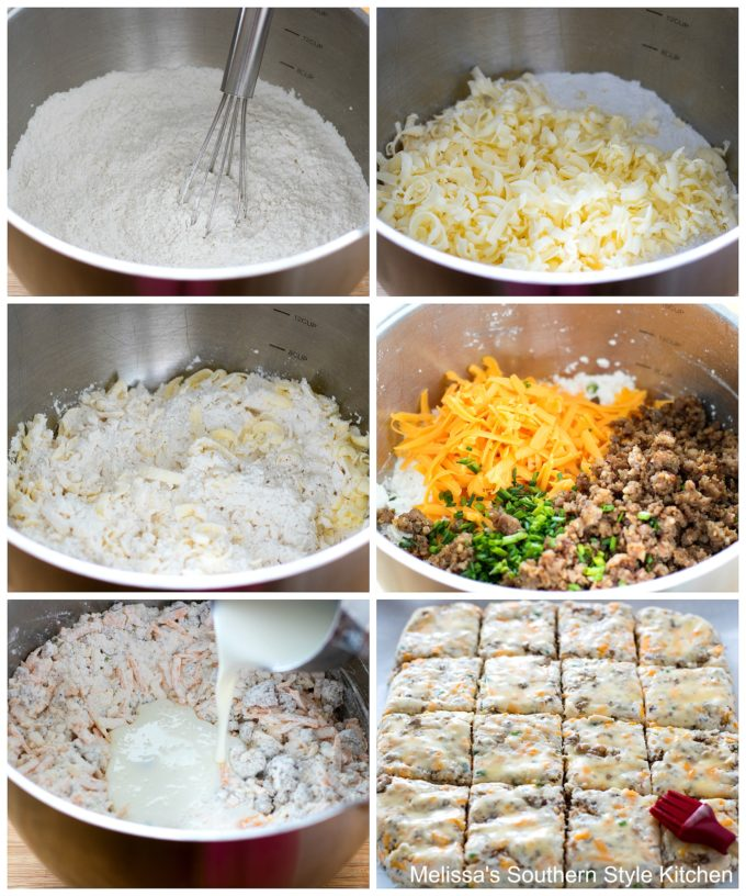Step-by-step images and ingredients for Cheddar Sausage Biscuits