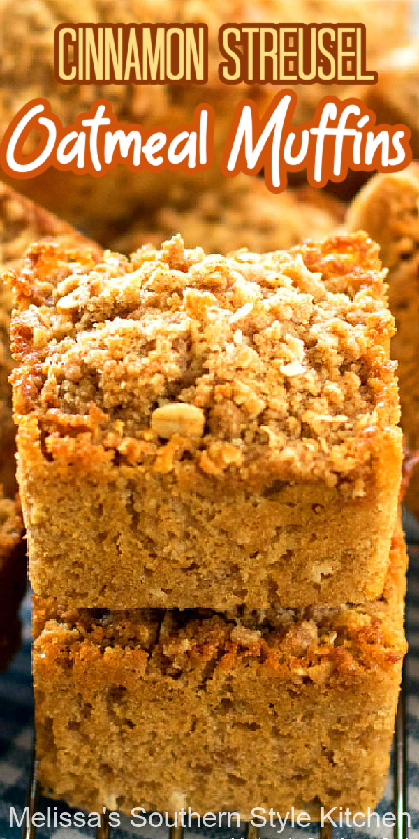 Enjoy bakery-style Cinnamon Streusel Oatmeal Muffins at home #oatmealmuffins #muffinrecipes #oatmealrecipes #oatmeal #sweet #holidaybrunch #holidaybaking #desserts #teatimerecipes #southernrecipes #southernfood