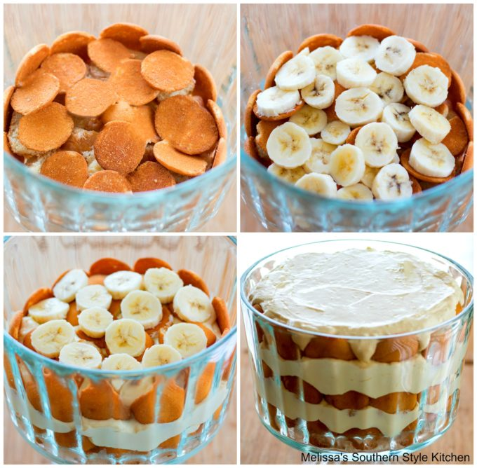 step-by-step pictures and ingredients for banana pudding