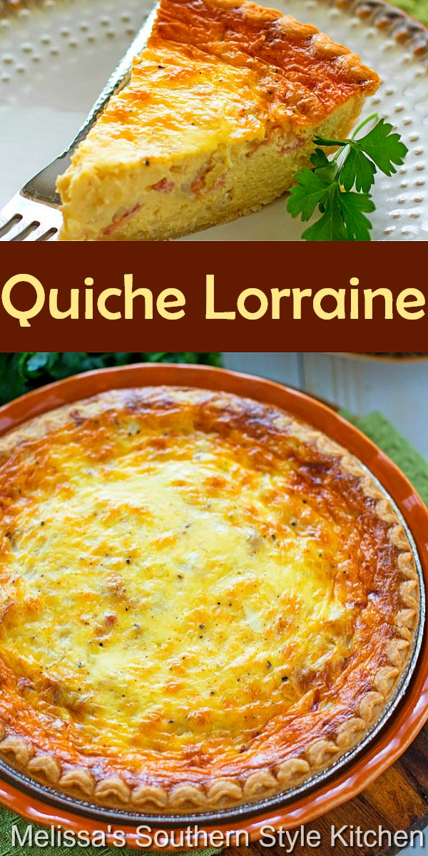 Quiche Lorraine features a smooth egg custard filled with Gruyere cheese, bacon and onion for the classic winning flavor combination #quichelorraine #quiche #quiche recipes #baconquiche #brunch #holidayrecipes #easterbrunch #christmasbrunch #thanksgivingbrunch #mothersday #breakfast #southernfood #southernrecipes #melissassouthernstylekitchen