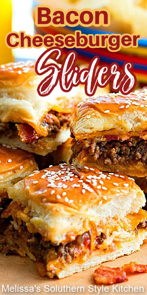 Enjoy these irresistible pull apart Bacon Cheeseburger Hawaiian Sweet Roll Sliders for snacking and casual meals #cheeburgersliders #baconcheeseburgers #cheeseburgers #sliderrecipes #Hawaiiansweetrolls #pullapartrolls #sweetrolls #dinnerideas #tailgating #dinner #southernrecipes #southernfood #easygroundbeefrecipes #dinner