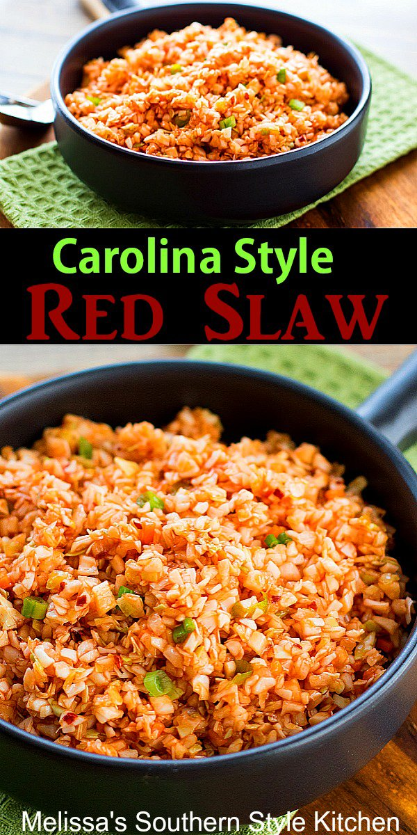 Sweet and tangy Carolina Style Red Slaw is ideal for serving with pork barbecue #barbecueslaw #carolinaredslaw #easternnorthcarolinaslaw #coleslawrecipes #porkbarbecue #sidedish #southernfood #southernrecipes