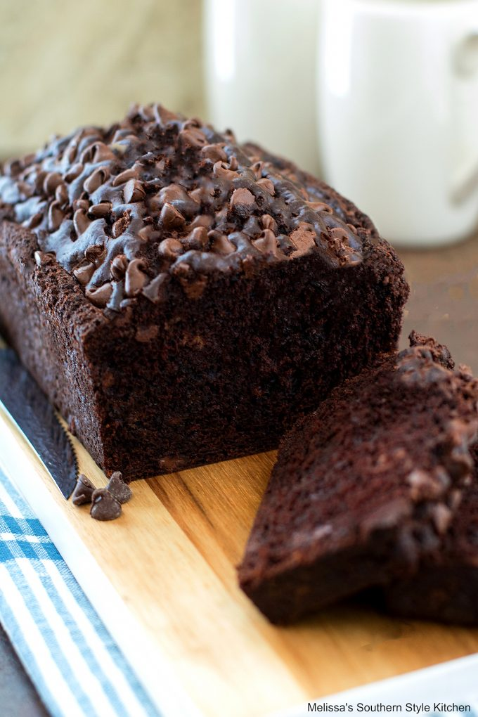 Baked loaf of Chocolate Banana Bread