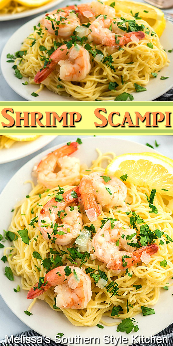 Dine on this restaurant favorite at your own kitchen table Easy Shrimp Scampi #shrimpscampi #shrimp #pasta #easyshrimpscampirecipe #seafoodrecipes #dinner #dinnerideas #lemon #lemonshrimp #southernfood #southernrecipes
