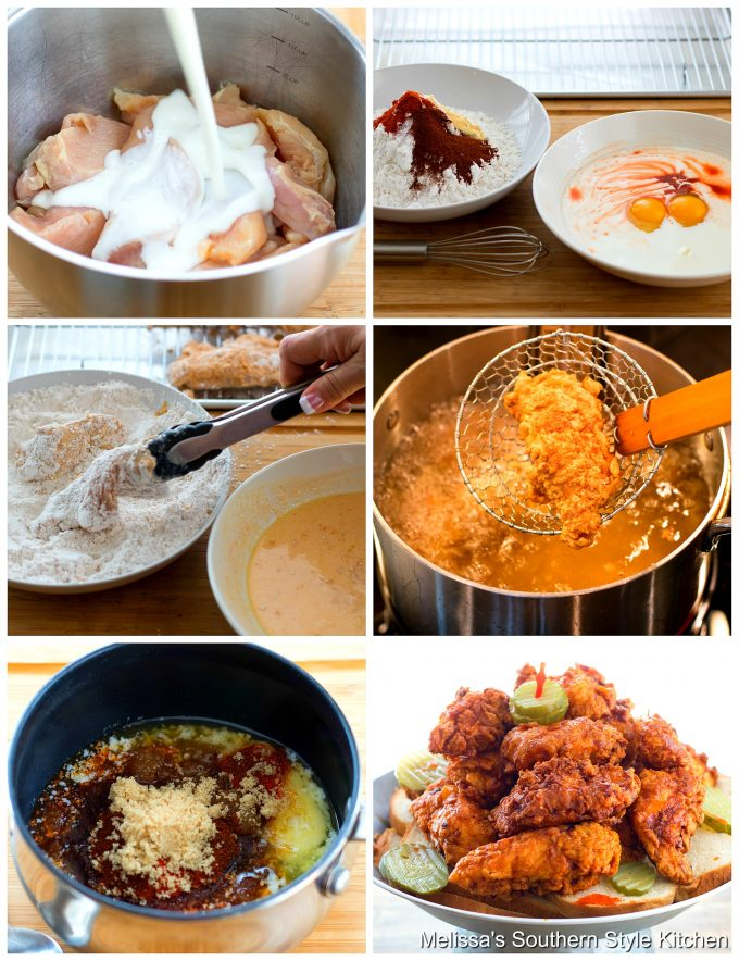 Step-by=step preparation images and ingredients for Nashville Hot Chicken Strips