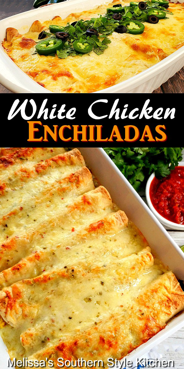 Cheesy and delicious White Chicken Enchiladas #chickenenchiladas #whitechickenenchiladas #sourcreamenchiladas #encholadas #easychickenrecipes #chicken #mexicanfood #whitesaucerecipe #dinnerideas #dinner #southernfood #southernrecipes
