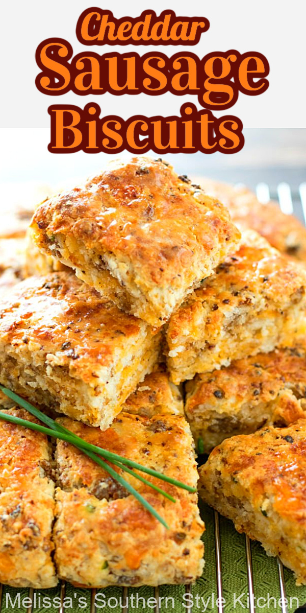 Start your day with these easy cheesy Cheddar Sausage Biscuits #sausagebiscuits #cheddarbiscuits #southernbiscuits #biscuitrecipes #brunch #breakfast #southernfood #southernrecipes #biscuits